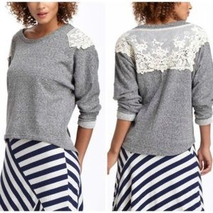 Anthropologie Grey Sweatshirt with Lace